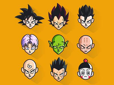 Dragon ball icons ten shin han dragon ball chaos yamcha piccolo trunks krillin gohan vegete goku icons
