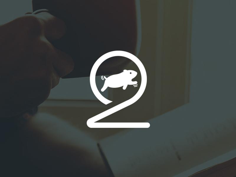 2 Hamsters logo guinea pig animal pet veterinary wheel two logo hamsters 2