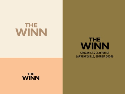 The Winn lettering typography lofts housing condos apartment coral olive clean bold modern logo color branding type logo