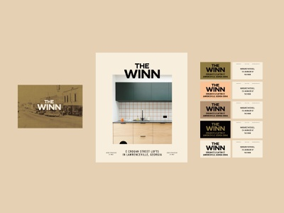 The Winn Suite poster collateral postcard historical lofts clean modern logo bold business card lettering color branding typography type logo