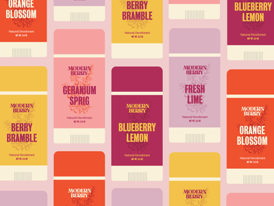 Modern Berry Deodorant #2 illustration design lettering typography branding botanical color deodorant packaging logo