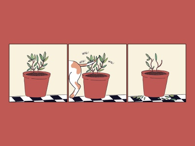 """My Dog Always Knocking the Damn Leaves Off My Plants"" newspaper dogs drawing color dog comic strip comic illustration"