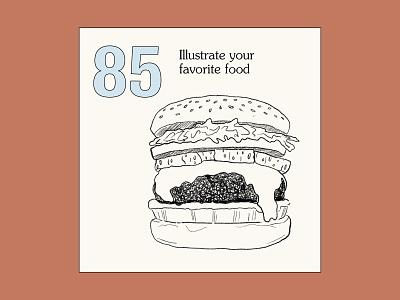 99 Art Challenges – Prompt 3 design art type prompt challenge drawing burger color illustration