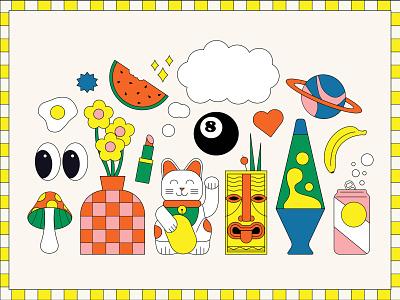 👀 prompts banana soda flowers vase vector emoji lava lamp space tiki mushroom checkerboard color eyes egg cat waving cat flat illustration