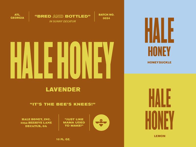 Hale Honey midcentury mcm 60s propoganda lettering color icon logo illustration typography vintage retro type branding bee honeybee packaging honey