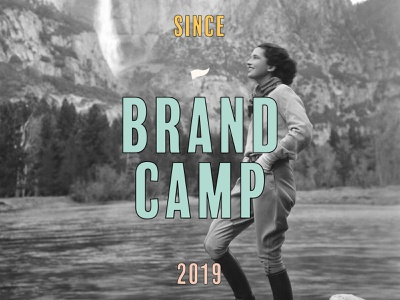 Brand Camp logo poster lettering illustration primary typography type pennant flag retro color vintage camping women exploration camp