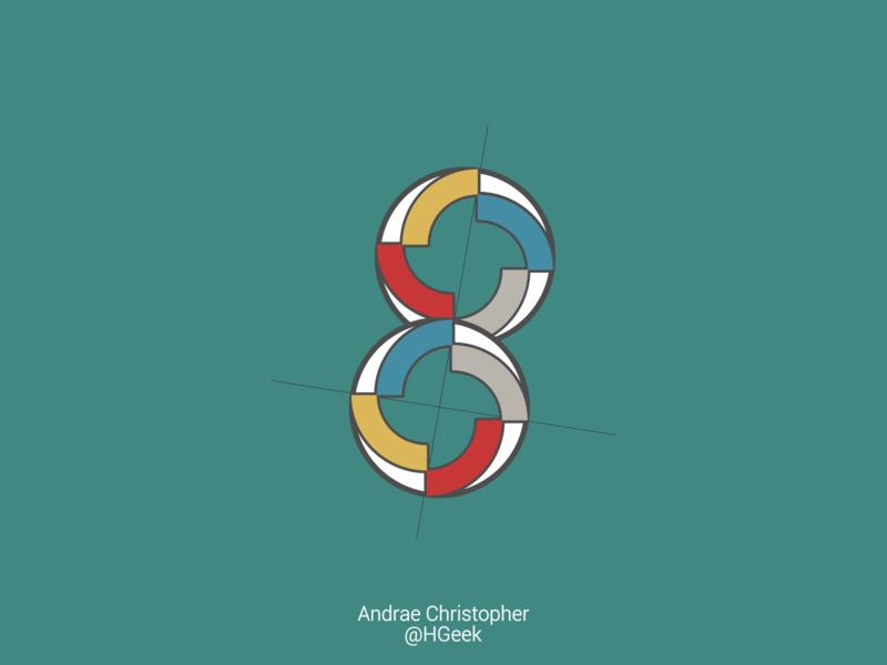 Multifaceted Number Eight number eight eight number graphic design monogram logo flat design branding logo design vector logo design