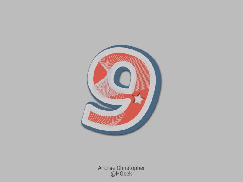 Number Nine Vintage Design vintage vintage design vintage logo number illustration graphic design branding logo design vector logo design
