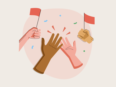 Celebrate! cheer support high five celebration celebrate illustration