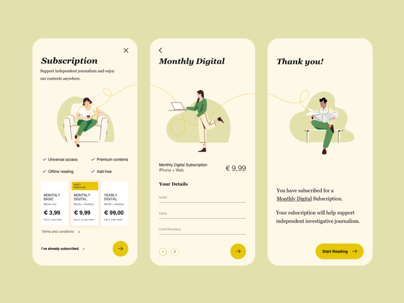 Newspaper Subscription illustration app iphone interaction ux ui mobile