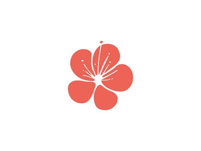 Flower logo simple red flower mark identity branding logo-design