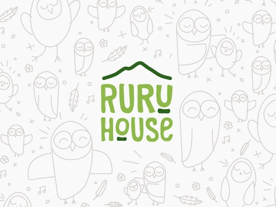 Ruru House identity logo kids childhood love green branding house ruru owl early-childhood kindergarten