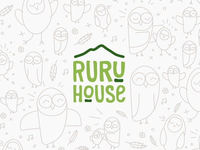 Ruru House identity logo kids childhood love green branding house ruru owl early-childhood kindergarten