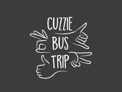 Bus Trip drawing thick-lines black ok thumbs-up peace hang-ten hands fun branding logo illustration