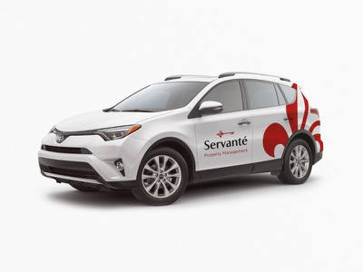 Servanté management property toyota graphic design car red branding application logo