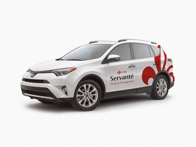 Servanté management property toyota graphic design car red branding application logo