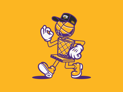 Lakers 2020 retro mascot design illustration