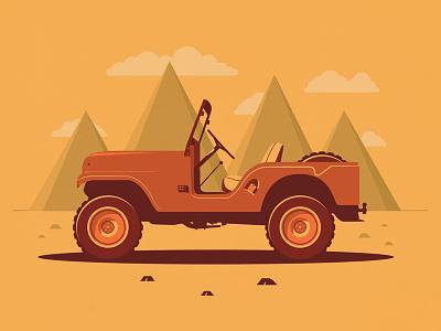 Jeep Adventure adventure explore mountains art road trip shadows dessert jeep graphic design design illustration car