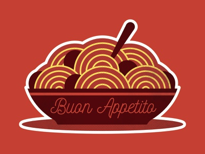 Spaghetti and Meatballs! appetito buon stickermule sticker playoff meatballs and spaghetti italy illustration