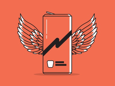 Energy Drink simplistic lineart icon graphics wings design illustration
