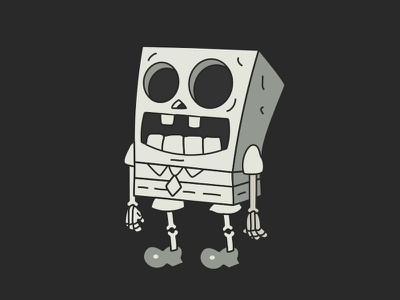 No Service Sponge Skeleton boo squarepants spongebob cartoons scary skull illustration skeleton