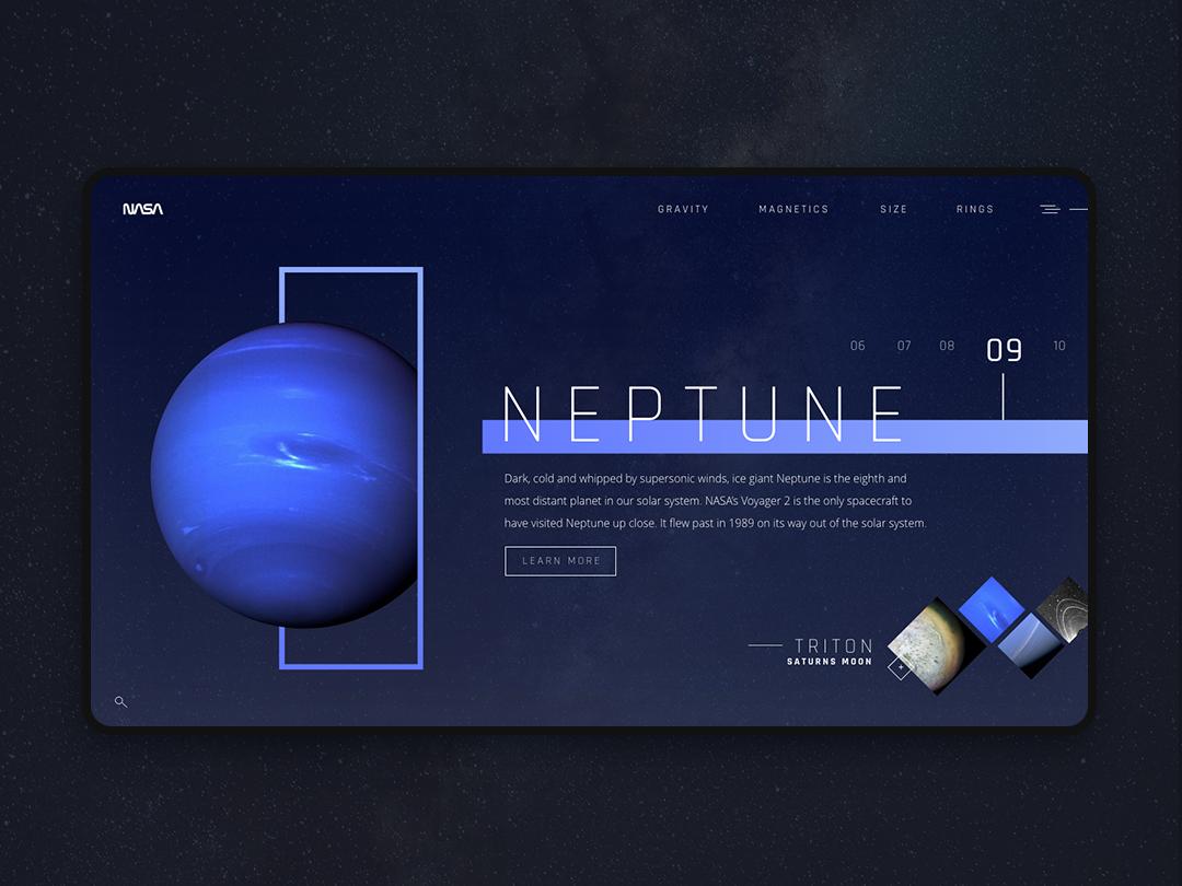 Neptune - Sol's System neptune landing page landing minimalist futuristic ui futuristic minimal solar system website web ux design ui website concept concept website design space