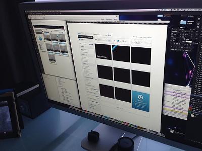 Mid-design work process setup wireframe monitor layout desk card omnigraffle