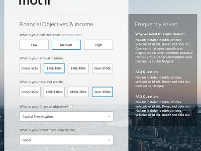 Financial objectives transparent selector form
