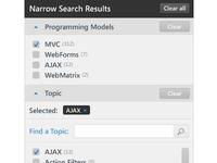 Sidebar - Filter search