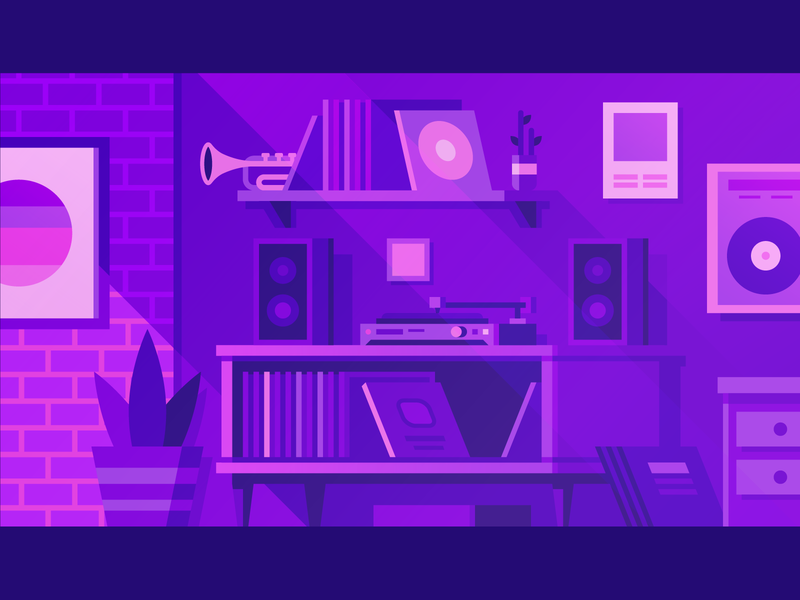 Audius - Record Collection plant trumpet neon synthwave brick poster vinyl collection speakers music player record