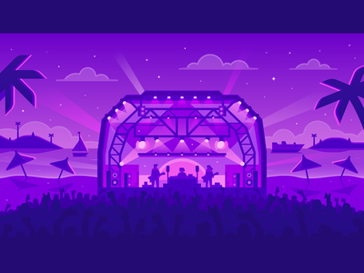 Audius - Beach Concert sailboat boat stage concert crowd palm tree beach synthwave purple neon