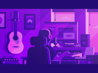 Audius - Home Studio mixing amp microphone synthwave purple office speakers guitar acoustic recording studio home neon