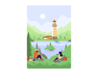 Hikers' View - DuckDuckGo Onboarding Illustrations landscape lighthouse backpack backpacker hiker trees rocks bird