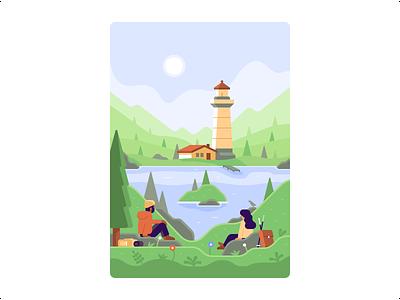 Hikers' View - DuckDuckGo Onboarding Illustrations landscape lighthouse backpack backpacker hiker trees rocks bird