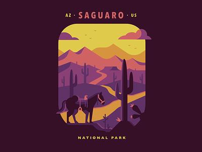 Saguaro National Park saddle horse backpacking path hike wpa poster poster national park cactus mountain desert saguaro