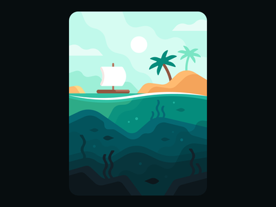 Tides: A Fishing Game (Transition Screen) palm vacation paradise caribbean water underwater tropical sail boat raft fishing