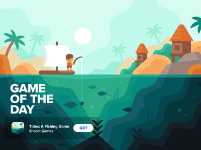 Tides: A Fishing Game - Game of the Day fish underwater palm beach game tropical boat raft fishing tides