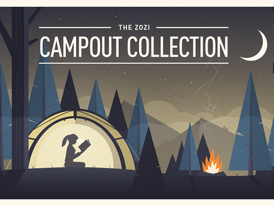 Campout tree forest camp campout fire headlamp moon reading