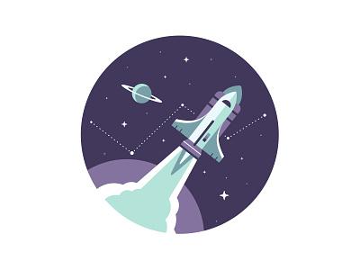 Rocketship rocket ship space planet saturn constellation stars star geometry icon geometric vector