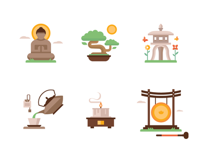 Zen Garden Icons buddha zen icon spot illustration japan meditate gong lantern tea bonsai candle