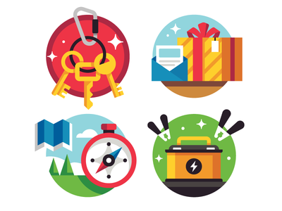 Icon-istrations stopwatch illustration icon battery present gift explore trees map compass keychain keys