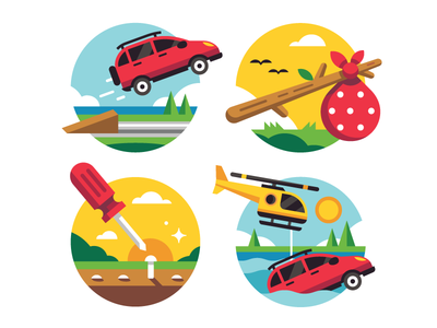 More Iconistrations illustration icon accident helicopter tools screwdriver hobo stick bindle birds ramp jump car