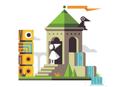RetroMill: Princess & Totem clouds grass waterfall flag tower totem retromill monument valley