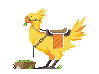 RetroMill: Wark! chocobo snes playstation video games final fantasy bird saddle leaf