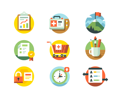 CSS Icons paintbrush pencil clock security document chart clipboard cart shopping mountain first aid healthcare