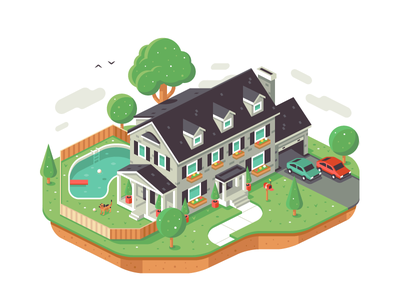Isometric House lawn mailbox colonial plants car clouds dog pool tree isometric