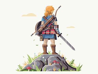 Hero of the Wild video game retromill bow arrows leaves cliff rock mushroom sword link breath of the wild zelda