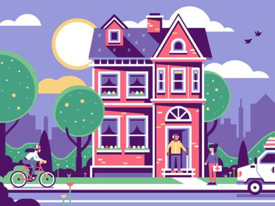 Health Aide birds skyline cane elderly old man bike cyclist apartment house