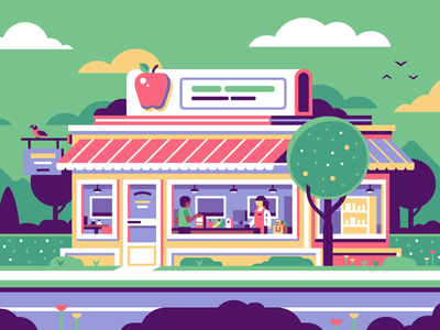 Grocery Store tree food milk cereal fruit check out cashier bird apple grocery