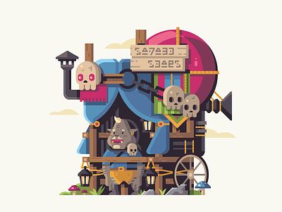 Ghastly Salesman mushroom salesman booth skull monster zelda nintendo